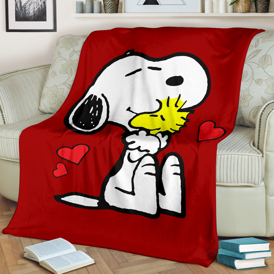 Red Snoopy and Woodstock - Premium Blanket