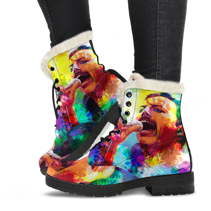Freddie Mercury - Queen - Faux Fur Leather Boots