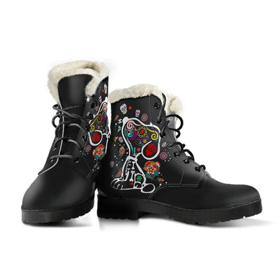 Colourful Snoopy - Faux Fur Leather Boots