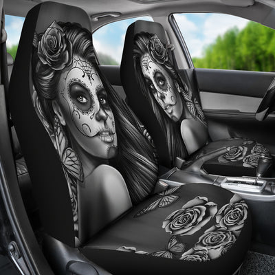 Calavera Black And White Car Seat Covers