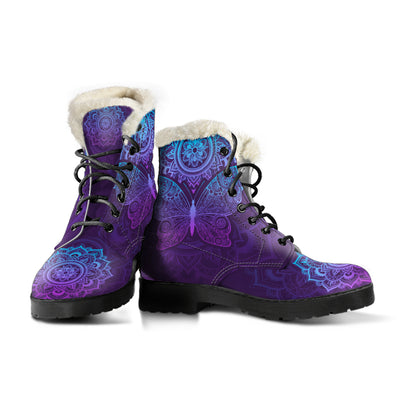 Purple Butterfly - Faux Fur Leather Boots