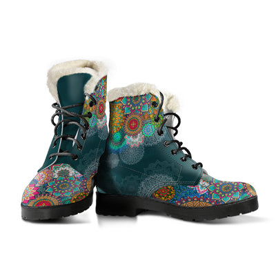 Colorful Mandala - Faux Fur Leather Boots