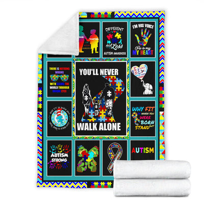 AUSTISM - YOU'LL NEVER WALK ALONE - PREMIUM BLANKET