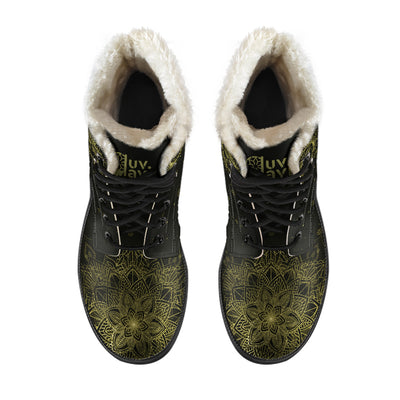 Golden Sun and Moon - Faux Fur Leather Boots