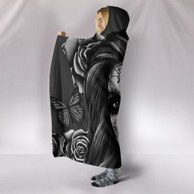 Calavera Hooded Blanket - Grey