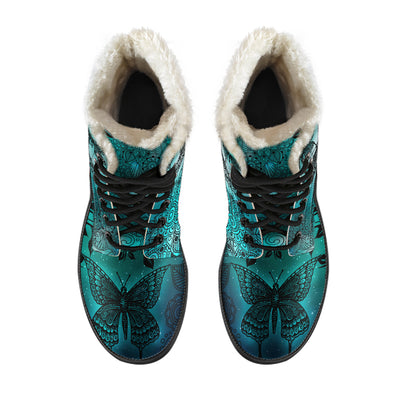 Magic Butterflies - Green - Faux Fur Leather Boots