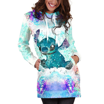 Lilo and Stitch Watercolor - Hoodie Dress