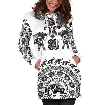 White Twin Elephants - Hoodie Dress