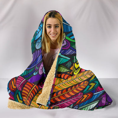 Boho Feathers - Hooded Blanket