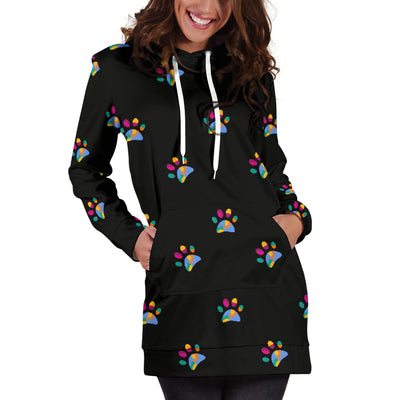 Colorful Dog Paws Hoodie Dress