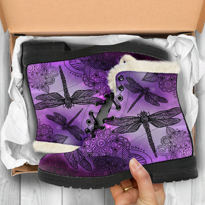 Magic Dragonflies - Purple - Faux Fur Leather Boots