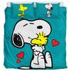 Turquoise Snoopy And Woodstock - Bedding Set