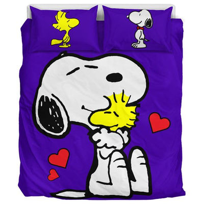 Purple Snoopy And Woodstock Bedding Set
