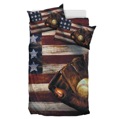 Baseball American Flag - Bedding Set