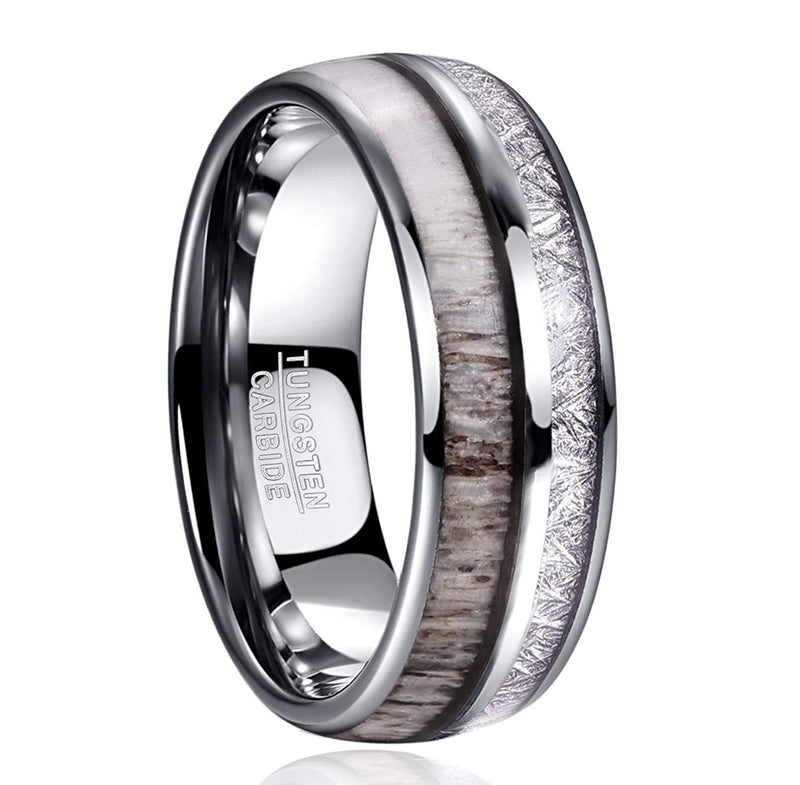 Silver Antler w/ Meteorite - 8mm - 6mm - Couples Rings