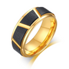 Tungsten Carbide Ring - Gold with Brush Stripe Black Inlay - 8mm