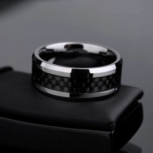 Tungsten Carbide Ring - Silver with Carbon Fiber Inlay - 8mm