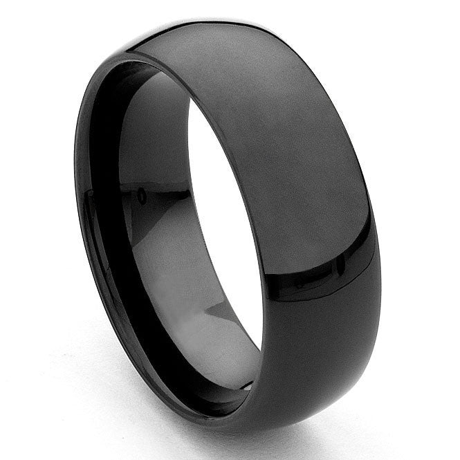 Men Black Brush Tungsten Ring - 8mm