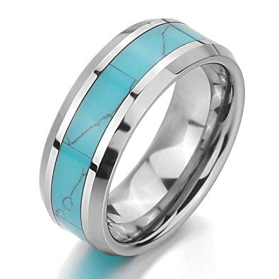 Women Silver Tungsten Ring - Teal - 6mm