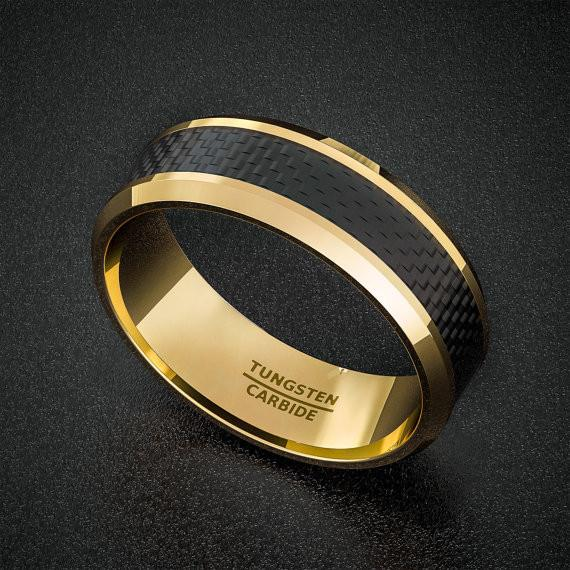 Tungsten Carbide Ring - Gold with Carbon Fiber Inlay - 8mm
