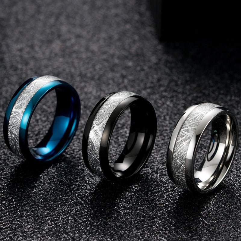 Ice Silk Foil Ring Width 8 Mm Blue White Black Domed Tungsten Carbide Men's & Women's Ring Imitated Meteorite Wedding Rings