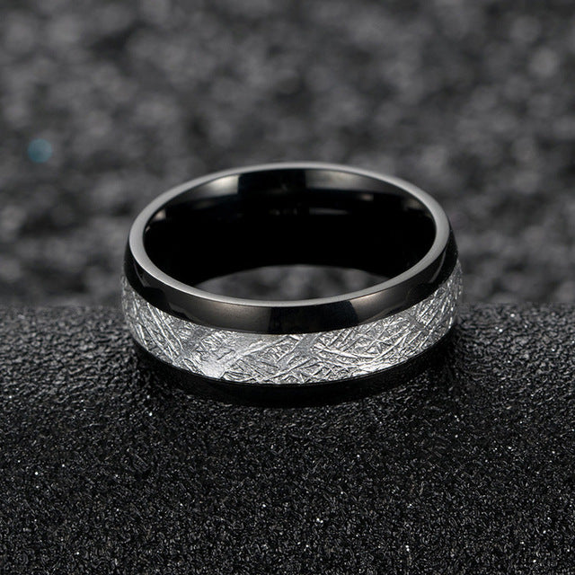 Tungsten Carbide Ring - Blue White Black Domed Imitated Meteorite Wedding Rings