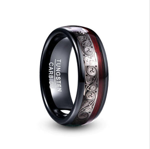 8mm Wide Tungsten Steel Ring Plating Black Inlay Triple Spiral Pattern+Red Guitar String Tungsten Carbide Ring