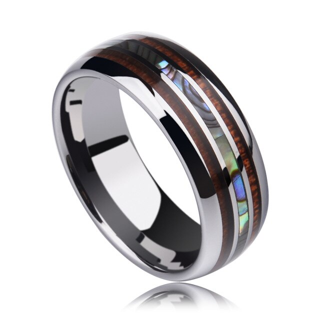 8MM Tungsten Carbide Rings Inlay Koa Wood And Abalone Shell Wedding Band