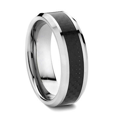Four Seasons Rings Tungsten Ring - Silver with Black Carbon Fiber Inlay - Four Season Rings - 1