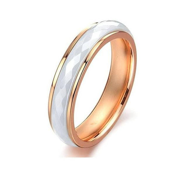 Women Rose Gold Tungsten Ring - White Ceramic - 6mm