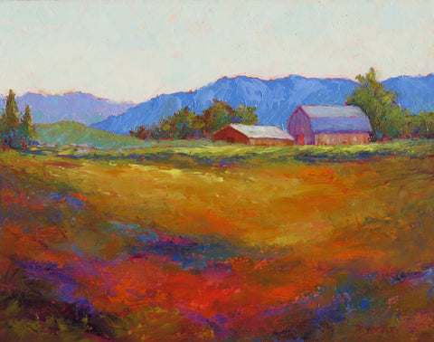Farm Vista original oil painting by New Mexico Artist Jeri Desrochers