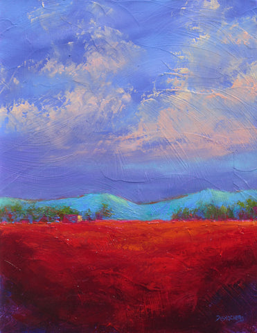 Storm Rojo original oil painting by New Mexico Artist Jeri Desrochers