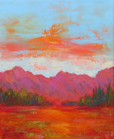 Sunset Organs original oil painting by New Mexico Artist Jeri Desrochers