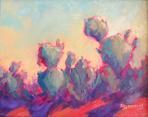 The Color of Cactus original oil painting by New Mexico Artist Jeri Desrochers