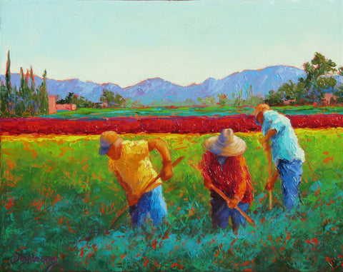 Tres Trabajadores original oil painting by New Mexico Artist Jeri Desrochers