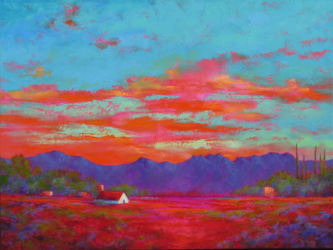 Turquoise Sky VII original oil painting by New Mexico Artist Jeri Desrochers