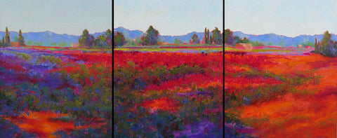 Valley Triptych original oil painting by New Mexico Artist Jeri Desrochers