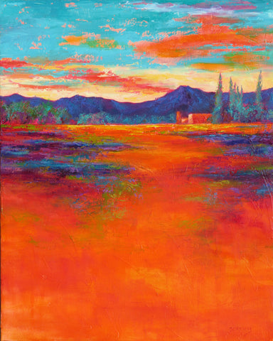 Valley Vignette II original oil painting by New Mexico Artist Jeri Desrochers