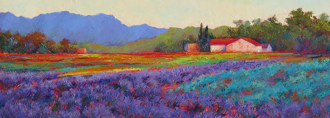 """Lavender and Teal""  original oil painting by Jeri Desrochers"