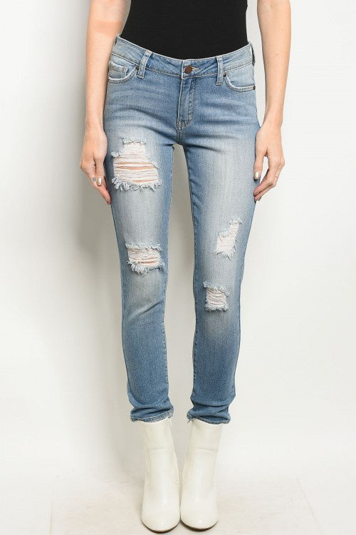 Mid-Rise Light Wash Distressed Ankle Skinny Jeans