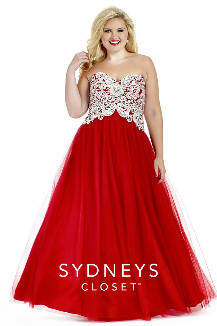 Sweetheart Neckline Embellished Plus Size Gown - Barbara's Boutique