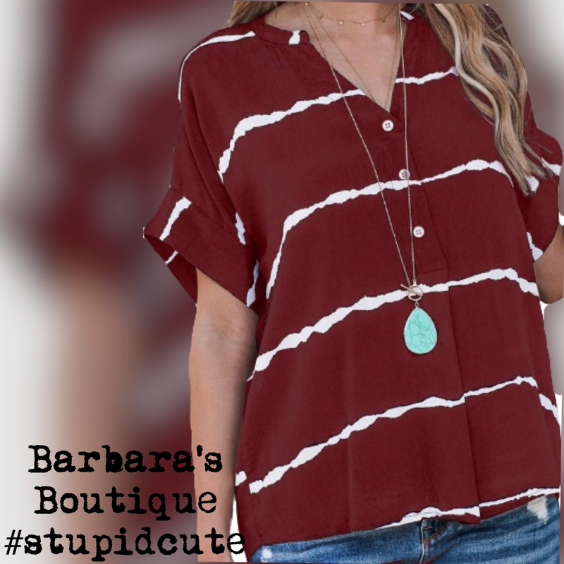 Burgundy Short Sleeve Top With White Stripes