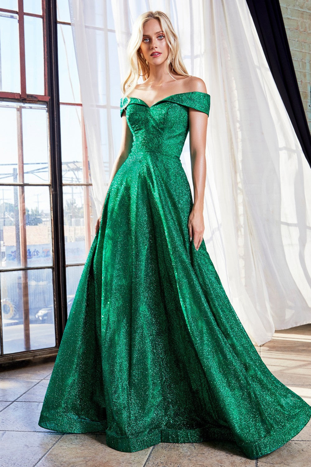 EMERALD Off the shoulder ball gown with glitter print