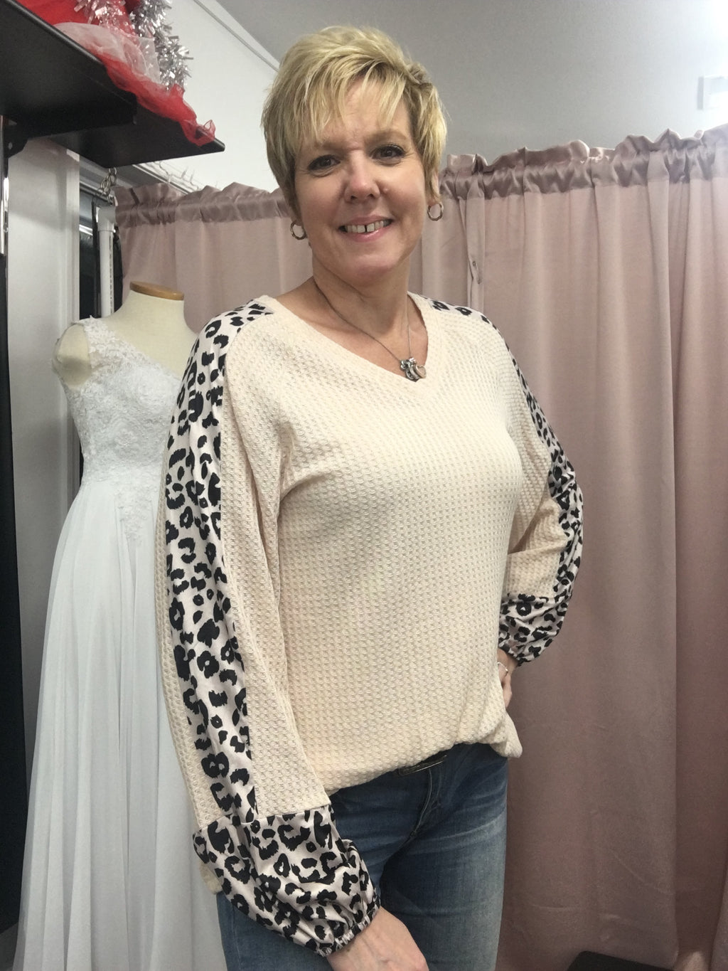 Peach & Leopard Knit Long Sleeve Top