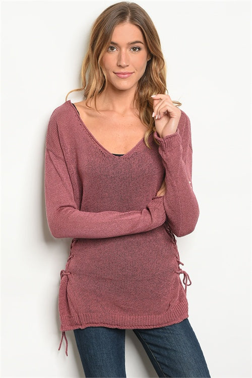 V NECK TIE SIDES SWEATER