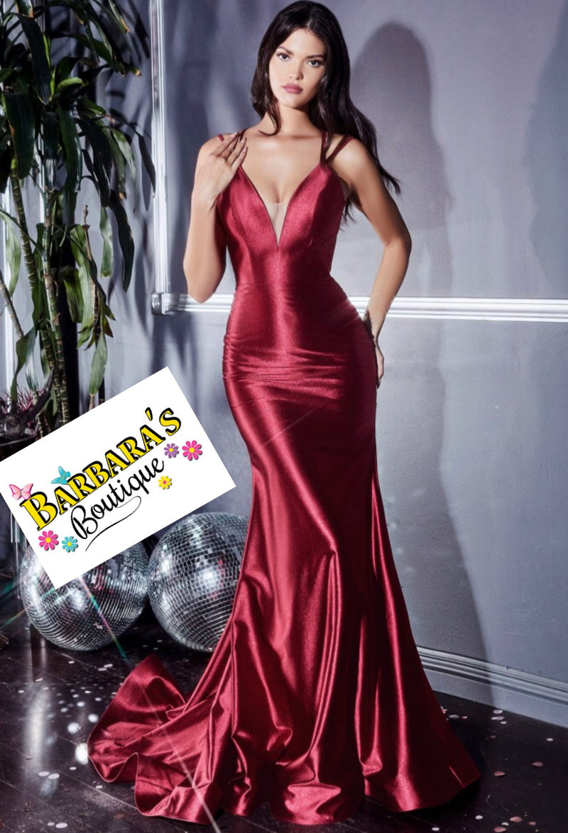 Burgundy Satin Strap Tie Gown