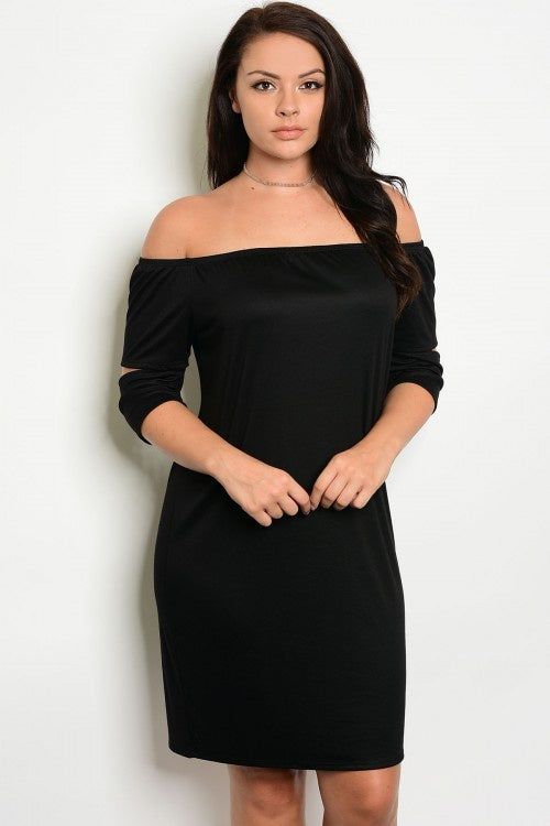 Plus Size Off The Shoulder Black Dress - Barbara's Boutique