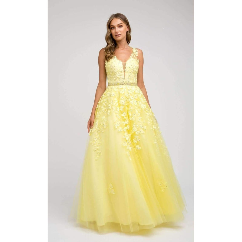 Yellow Applique Full Tulle Skirt Jeweled Belt - Barbara's Boutique