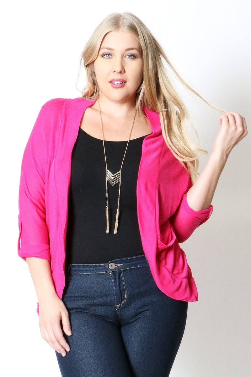 Hacci roll up slv open cardigan - Barbara's Boutique