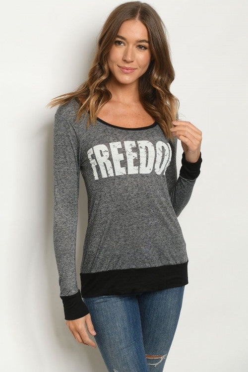 """Freedom"" Black and Grey Long Sleeve Top"